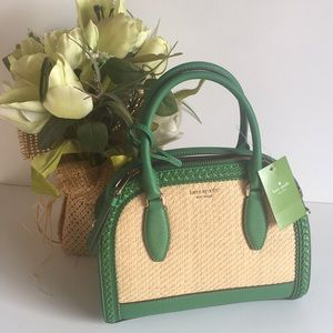 Kate spade reiley straw satchel bag green